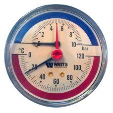Термоманометр Watts F+R 818/10 аксиальный от 0 до 10 бар, до + 120 С