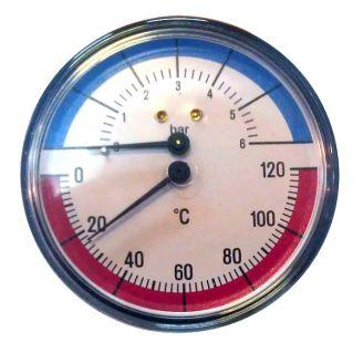 Термоманометр Watts F+R 818/6 аксиальный от 0 до 6 бар, до + 120 С