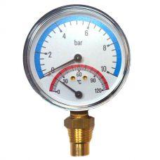 Термоманометр Watts F+R 828/10 радиальный от 0 до 10 бар, до + 120 С