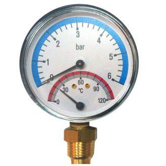 Термоманометр Watts F+R 828/6 радиальный от 0 до 6 бар, до + 120 С