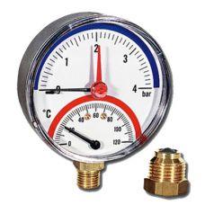 Термоманометр Watts F+R 828/4 радиальный от 0 до 4 бар, до + 120 С