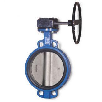 Затвор дисковый Water Technics BVGR WT DN 200 поворотный межфланцевый с редуктором, диск - чугун